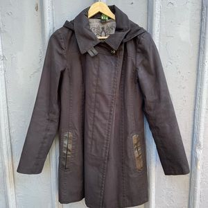 Mackage black leather trimmed trench rain coat size M